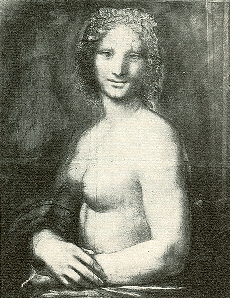Cartoon of a nude woman after Leonardo's lost original? - Musée Condé in Chantilly - This painting is supposed to come from Leonardo's workshop. Some experts claim that it was painted after the original that Leonardo made for his patron Giuliano de' Medici.