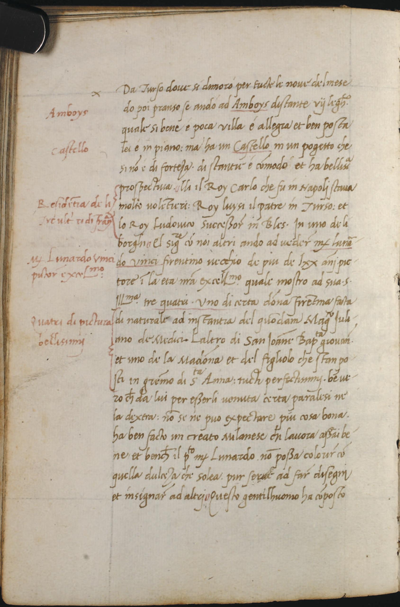 Antonio de Beatis - Account of the visit to Leonardo da Vinci - October 10 1517