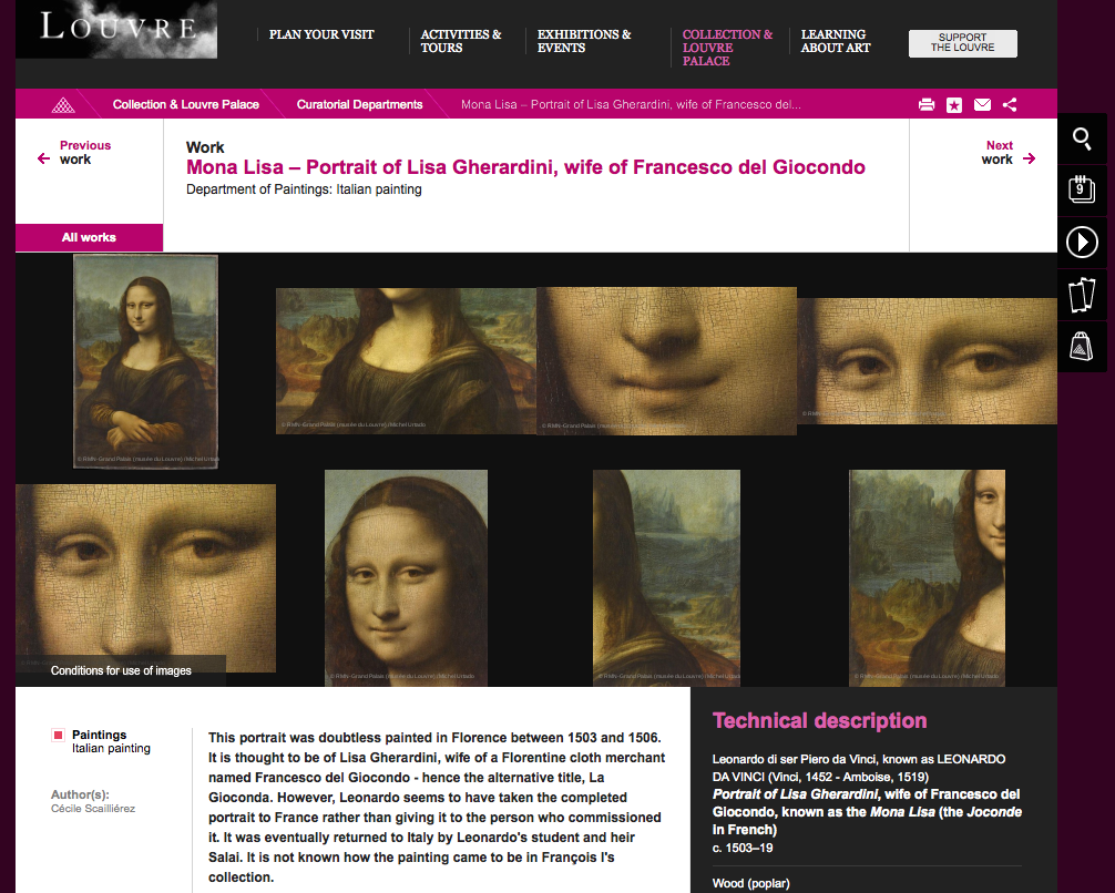 Louvre official website with the declaration of unknown origin of Monna Lisa
