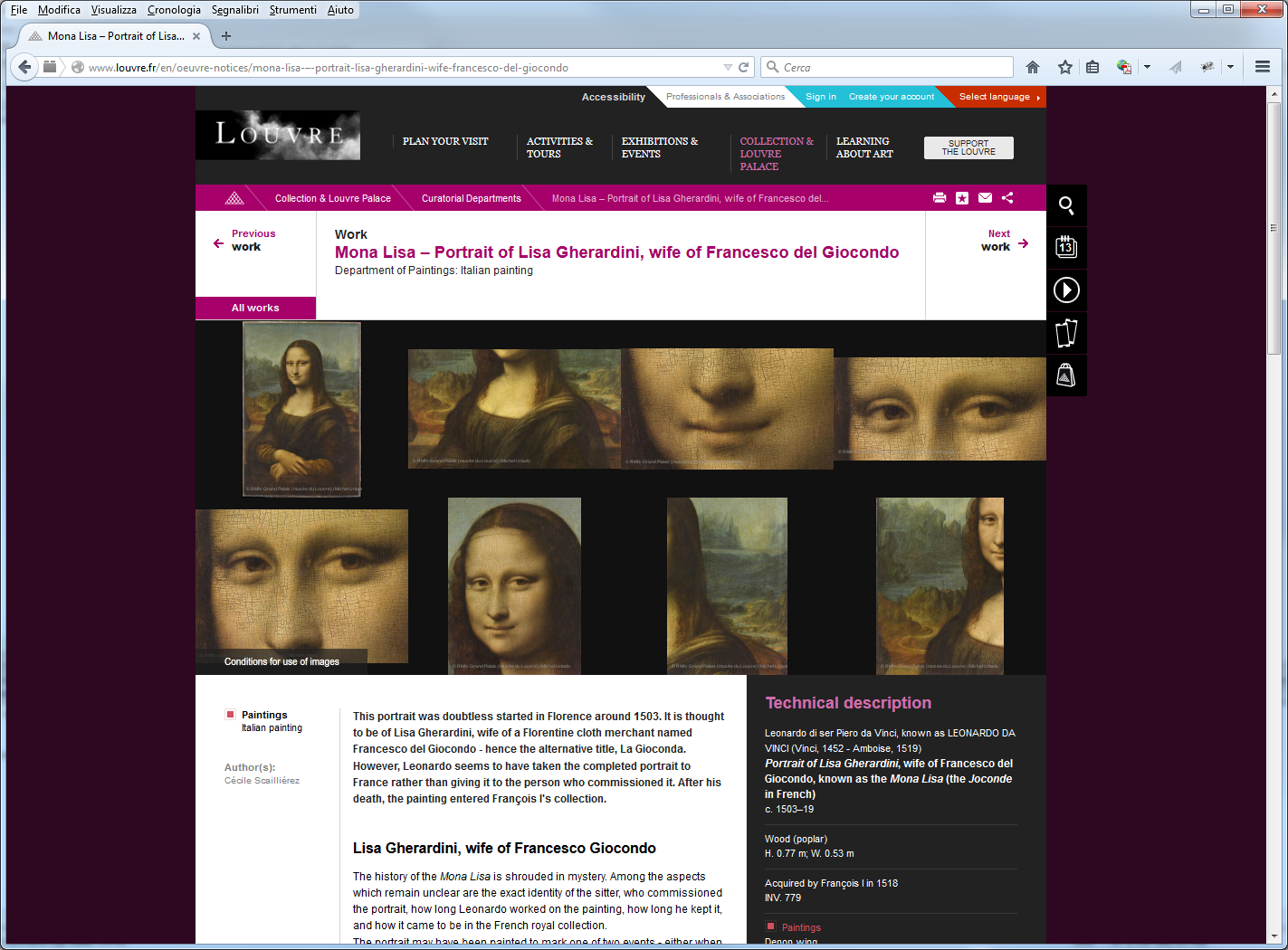 Updated Louvre's web page (at the time of this article) without the statement about the unknown origin of Monna Lisa.