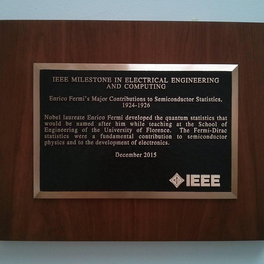 Fermi's IEEE milestone at the School of Engineering, University of Florence