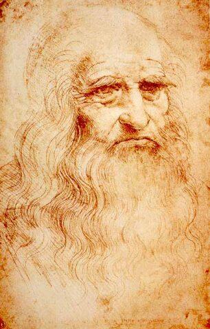 Presumed self-portrait of Leonardo da Vinci (c. 1510) at the Royal Library of Turin, Italy.
