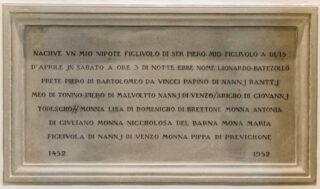 Plaque celebrating Leonardo's birth, Church of Santa Croce, Vinci, Italy